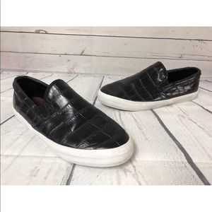 Zara Basic Slip On Sneakers Croc Embossed 40 9.5